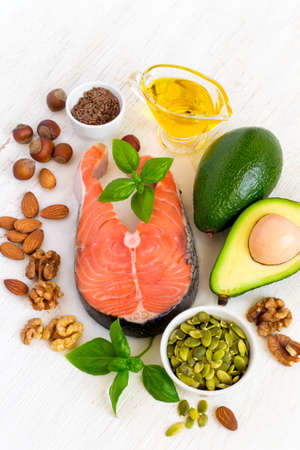 Set of food with high content of healthy fats and omega 3. Stock Photo