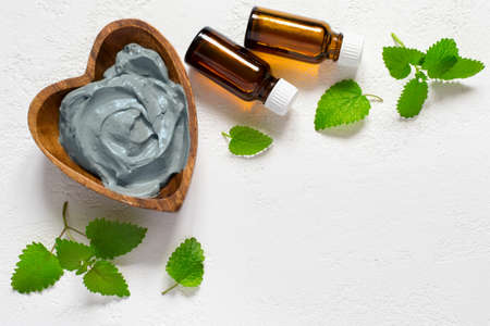 Cosmetic face mask and body made of blue clay, mint leaves and essential oils.
