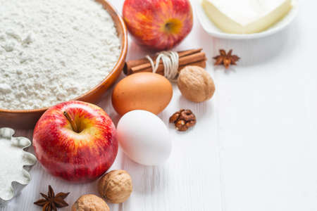 Ingredients for baking. Selection for apple pie or cakes, selective focus. Stock Photo