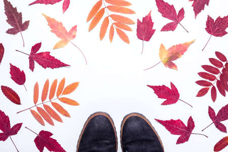 Multicolored autumn leaves frame and suede boots. Hello, Autumn concept.