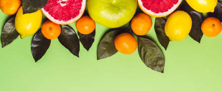 Border of different citrus fruits on green background. Imagens