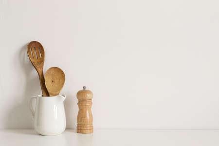 Minimalist Kitchenware on table wall
