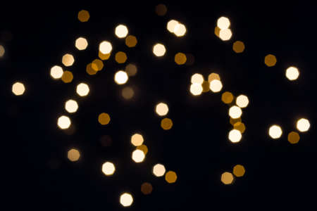 Abstract festive  with hexagon golden lights. Holiday concept.