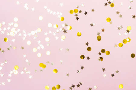 Festive  with Gold Stars Glitter Confetti on pink