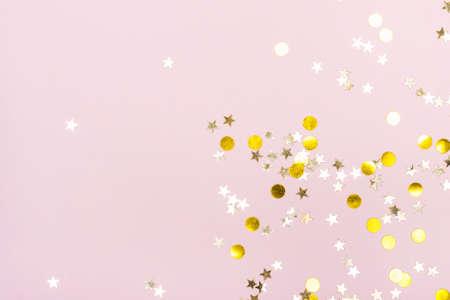 Festive  with Gold sparkles on pink Reklamní fotografie