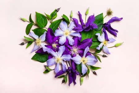 Heart made from beautiful purple flowers.