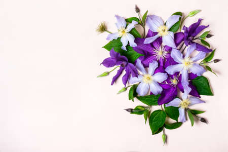 Creative layout made with Purple Flowers.