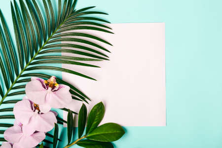 Natural Creativec layout made of tropical leaves and flowers.