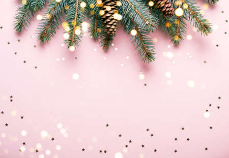 Christmas natural coniferous border with cones and confetti.