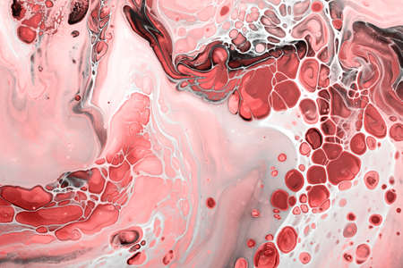 Fluid Art. Abstract marble background or texture. Red bubbles with pink waves