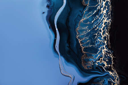 Acrylic Fluid Art. Dark blue waves in abstract ocean and golden foam. Marble effect background or texture Standard-Bild