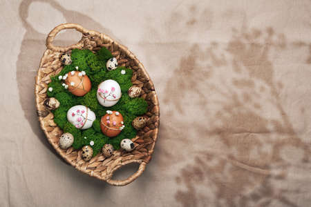 Easter eggs with natural flowers decor laid out on platter with moss. Zero Waste Easter Concept. Sunlight and floral shadows Stock Photo