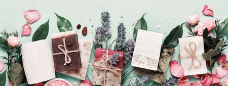 Banner with Natural soap bars and ingredients. Diy cosmetics products. Spa bath layout