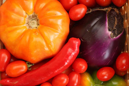 A variety of Mediterranean vegetables  tomatoes, peppers, chili, eggplant  photo