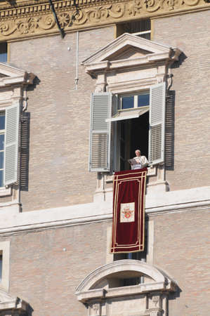 Pope Benedict XVI appeared at the window, Piazza San Pietro all  Angelus