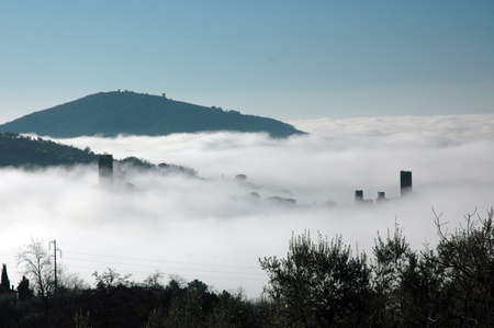 nebbia: Serravalle Pistoiese in the fog, tuscany, Italy