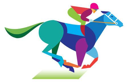corse di cavalli: un giovane che è un fantino a cavallo Vettoriali