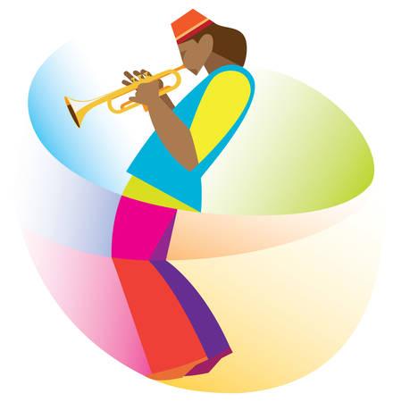 African-American men is a jazz trumpeter