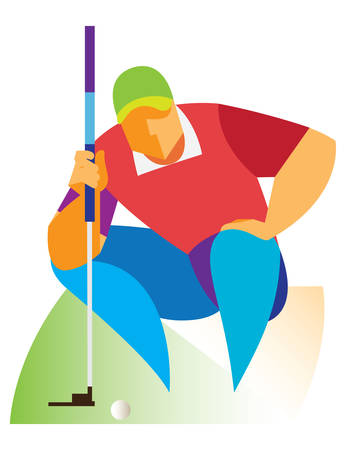 crouching: Golfer crouched down on the pitch Illustration