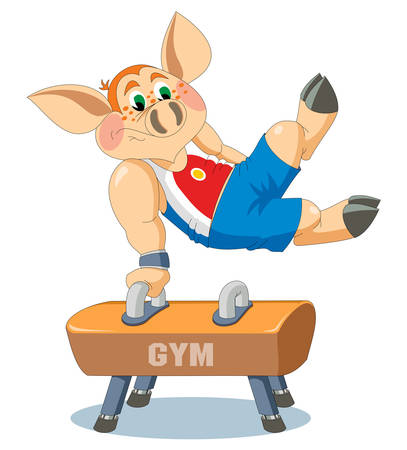 piglet: little piglet is gymnast