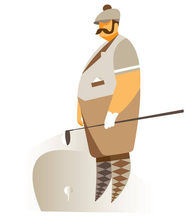 breeches: Golfer on the field in retro suit Illustration