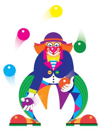 clown face: circus. Funny clown