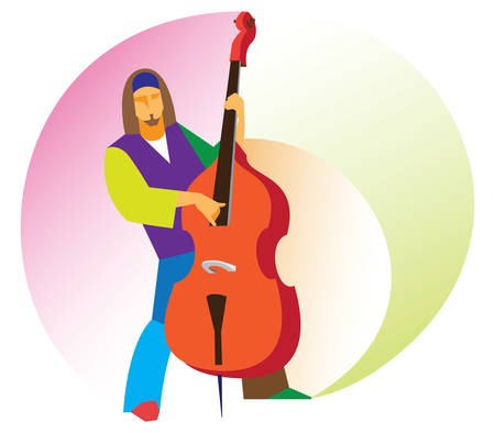 young male musician playing the double bass virtuoso Illustration