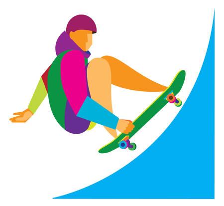 skateboard park: Young man is skateboarder Illustration