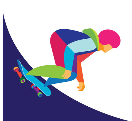 skatepark: Young teen is skateboarder Illustration