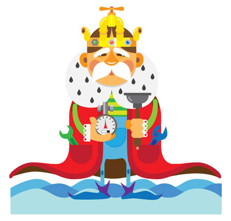 king master: The old master is king plumbers Illustration