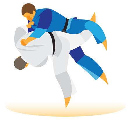 judo: judoka executes opponents throw