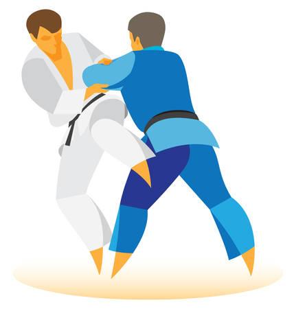 duel: two wrestlers judo