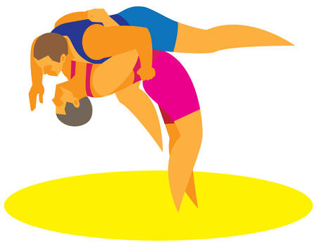 wrestlers.vector illustration