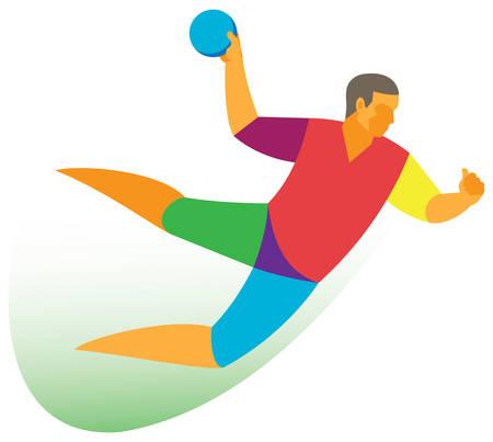 Handball player attack Illustration