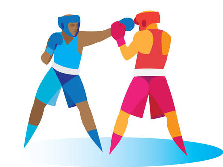 Boxing. Attack Illustration