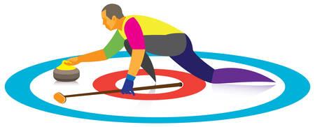 sport de curling. bigoudi Vecteurs