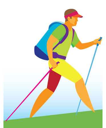 Nordic walking.Man Иллюстрация