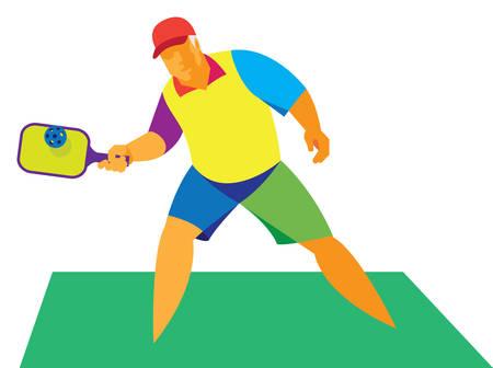 Racket sport.Old man 矢量图像
