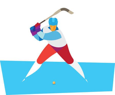 Russian hockey. Bandy player hits the ball
