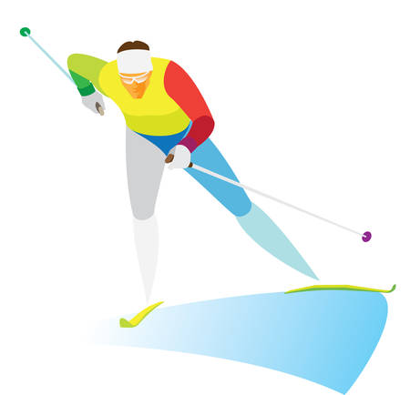cross country skiing. Young skier runs on the trails Illustration