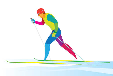 Young sportsman in classic style cross country skiing race Illustration