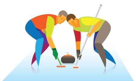 Curling sport.Players Vektorové ilustrace