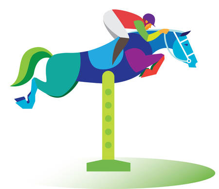 Sportsman on the horse. Horse jumping Illustration
