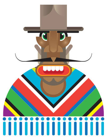 Mexican man dressed in poncho Illustration