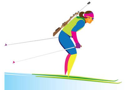 young woman is biathlete in blue uniform