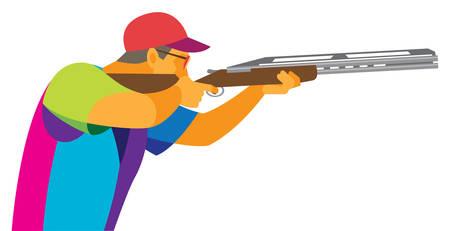 Strzelanie do glinianych gołębi. Młody strzelec