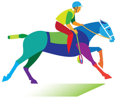 Horse sport. Young man is polocrosse player Stock Vector - 111830735