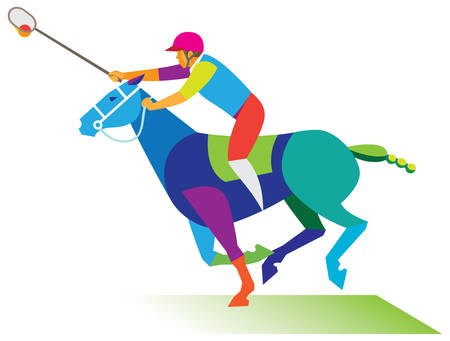 rider is an experienced player in polocrosse Illustration