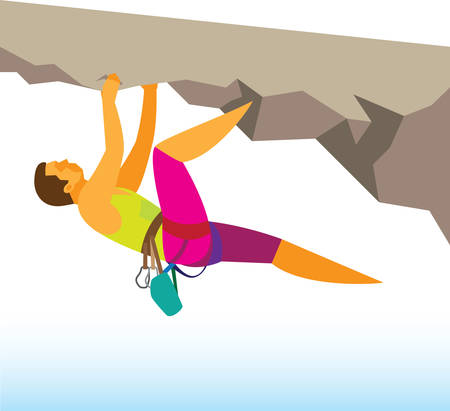 Young man is fearless rock climber Illustration