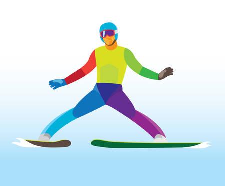 ski jumping. Young jumper. landing Illustration